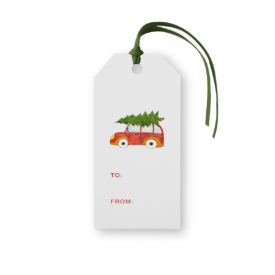 Holiday Car with Tree Classic Gift Tag printed on white paper.