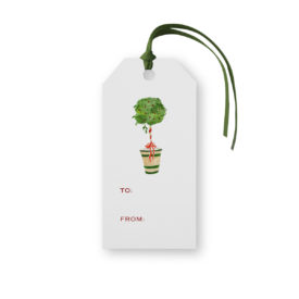 Holiday Topiary Classic Gift Tag printed on white paper.