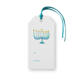Menorah Classic Gift Tag printed on White paper.