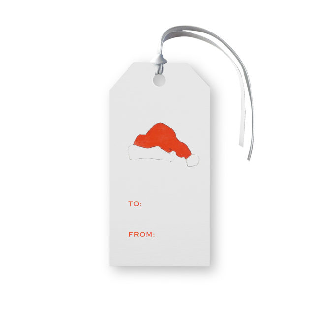 Santa Hat Classic Gift Tags printed on White paper.