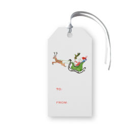 Santa and his Sleigh Classic Gift Tag printed on White paper.