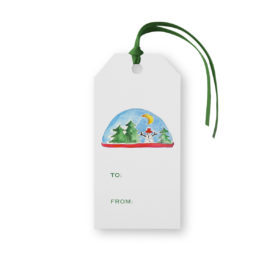 Snowglobe Classic Gift Tag printed on White paper.