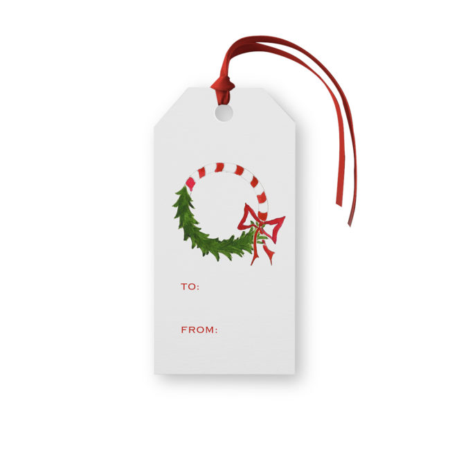 Candy Cane Wreath Classic Gift Tag printed on white paper.