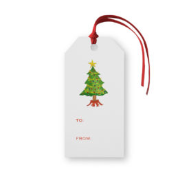 Christmas Tree Classic Gift Tag printed on White paper.