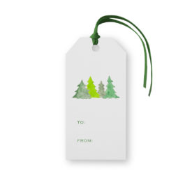 Christmas Trees Classic Gift Tag printed on White paper.