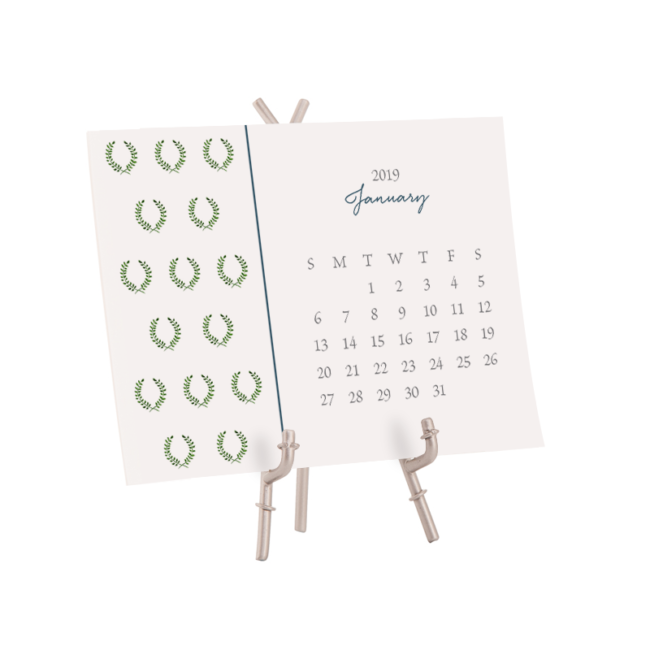 2019 Motif Desk Calendar printed on White paper.