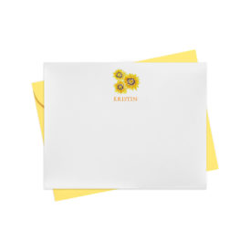 Sunflowers Flat Note Card printed on white paper.