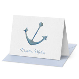Anchor image adorns a Folded Note Card printed on white paper.