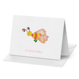 Bee image adorns a Folded Note Card printed on white paper.