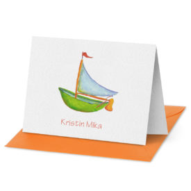 Sail Boat image adorns a Folded Note Card printed on white paper.