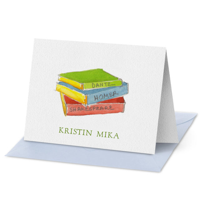 Folded Note Card featuring a stack of books printed on white paper.