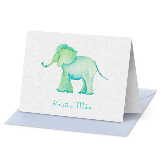 Elephant image adorns a Folded Note Card printed on white paper.
