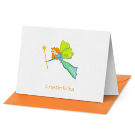 Fairy image adorns a Folded Note Card printed on white paper.