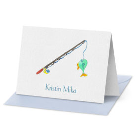 Fishing Rod image adorns a Folded Note Card printed on white paper.