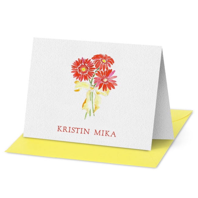 Folded Note Card featuring a red Gerber daisy image printed on white paper.