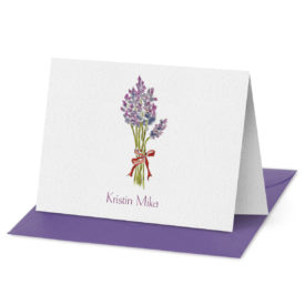 Fold Over Note Card with a lavender image printed on white paper.
