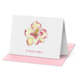 fold over note card featuring a magnolia image printed on white paper.