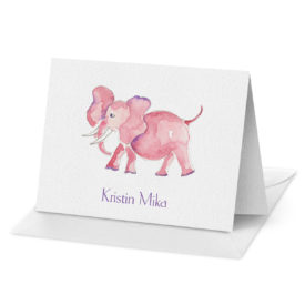 Pink Elephant image adorns a Folded Note Card printed on white paper.