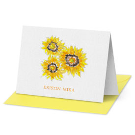 Sunflowers image adorns a Fold Over Note Card printed on white paper.