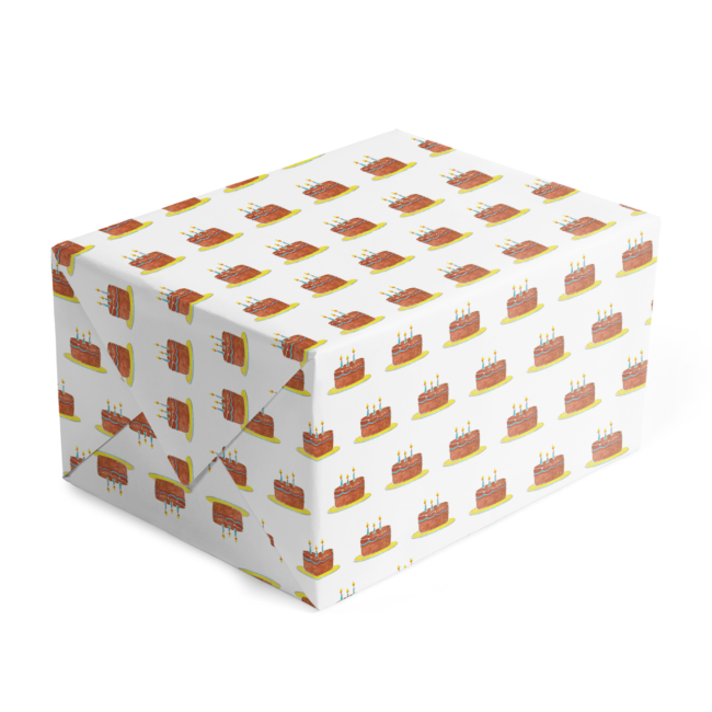 Birthday Cake Classic Gift Wrap printed on White paper.