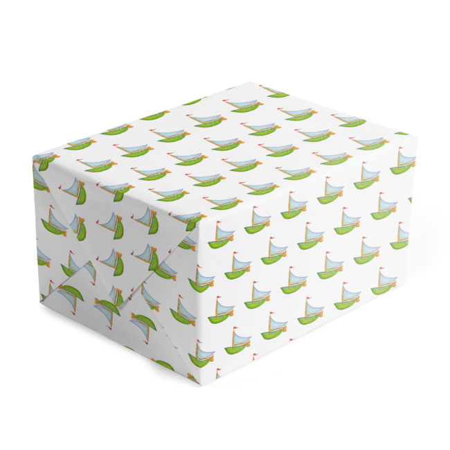 Boat Classic Gift Wrap printed on White paper.
