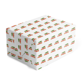 Holiday Car with Tree Classic Gift Wrap printed on White paper.