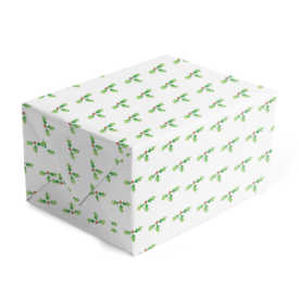 Holly Classic Gift Wrap printed on White paper.