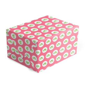 Pink and Green Monogram Gift Wrap