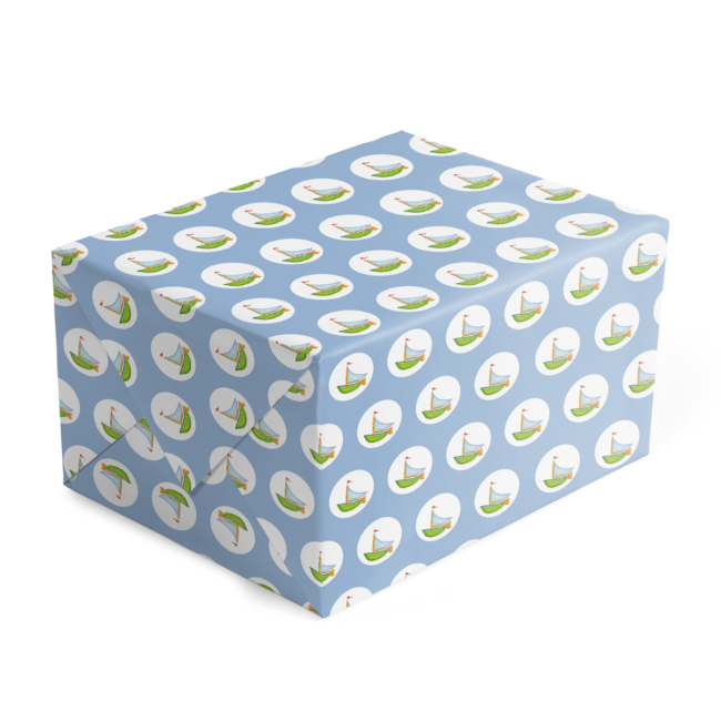 Custom gift wrap featuring a sailboat printed on White 70lb paper.