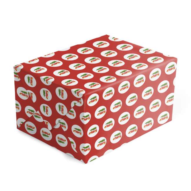 Holiday Car with Tree Preppy Gift Wrap printed on White paper.