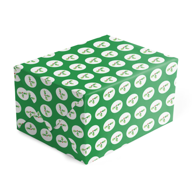 Holly Preppy Gift Wrap printed on 70lb White paper.