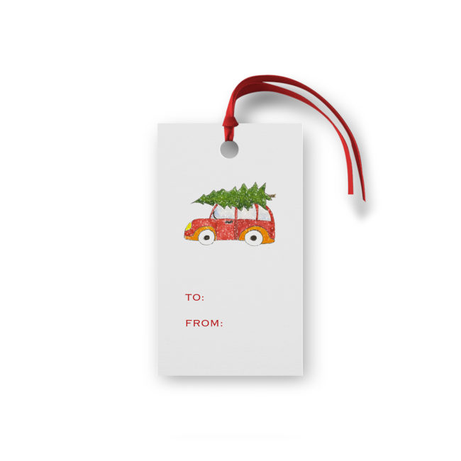 Holiday Car with Tree Glittered Gift Tag printed on White paper.
