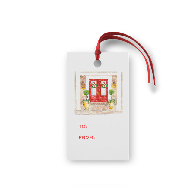 Holiday House Glittered Gift Tag printed on White paper.