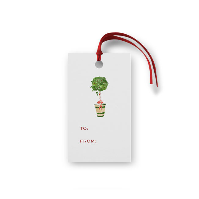 Holiday Topiary Glittered Gift Tag printed on White paper.