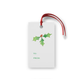 Holly Glittered Gift Tag printed on White paper.