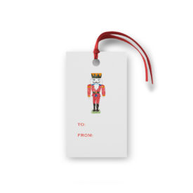 Nutcracker Glittered Gift Tag printed on White paper.