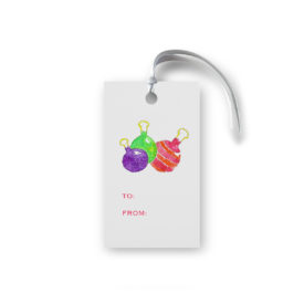 Ornaments Glittered Gift Tag printed on White paper.