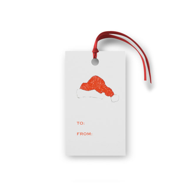 Santa Hat Glittered Gift Tag printed on White paper.