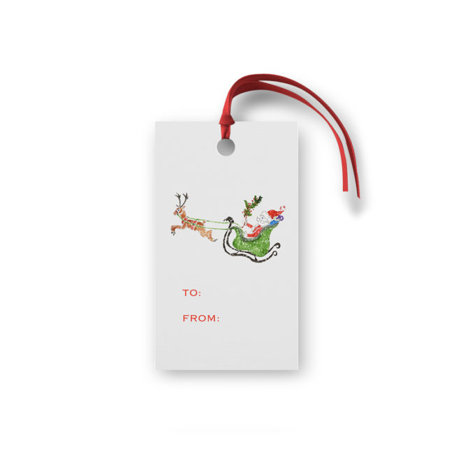 Santa with his Sleigh Glittered Gift Tag printed on White paper.