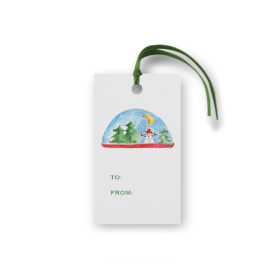 Snowglobe Glittered Gift Tag printed on White paper.
