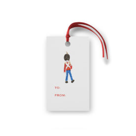 Toy Soldier Glittered Gift Tag printed on White paper.