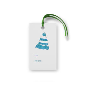 Winter Hat Glittered Gift Tag printed on White paper.