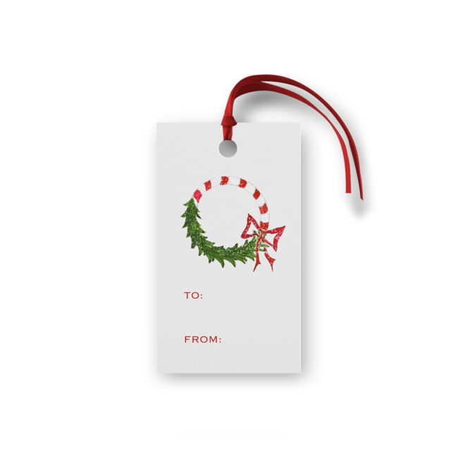Candy Cane Wreath Glittered Gift Tag printed on White paper.
