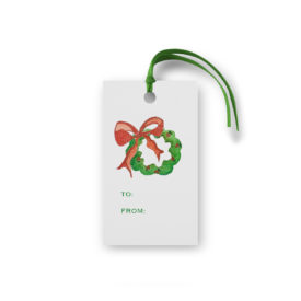 Wreath with Holly Glittered Tag printed on White paper.