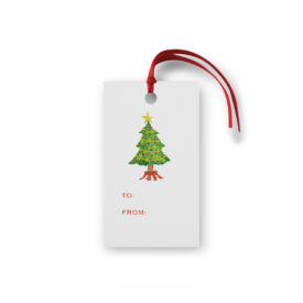 Christmas Tree Glittered Gift Tag printed on White paper.