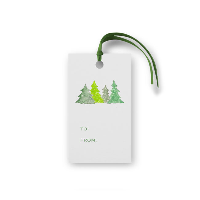 Trees Glittered Gift Tag printed on White paper.