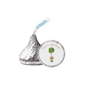 Holiday Topiary Candy Sticker that fits on a Hershey's kiss.