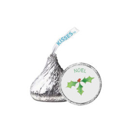 Holly Candy Sticker that fits on the bottom of a Hershey's kiss.