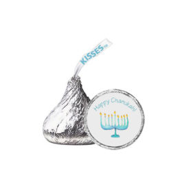 Menorah Candy Sticker that fits on the bottom of a Hershey's kiss.