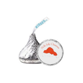 Santa Hat Candy Sticker that fits on the bottom of a Hershey's kiss.